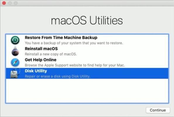 Выберите Дисковую утилиту и нажмите Продолжить на Mac.
