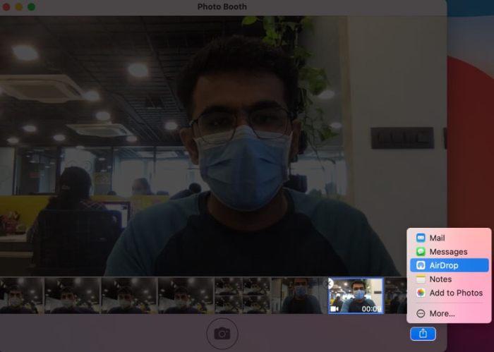 Выберите видео, нажмите «Поделиться» и выберите предпочтительный вариант в приложении Mac Photo Booth.