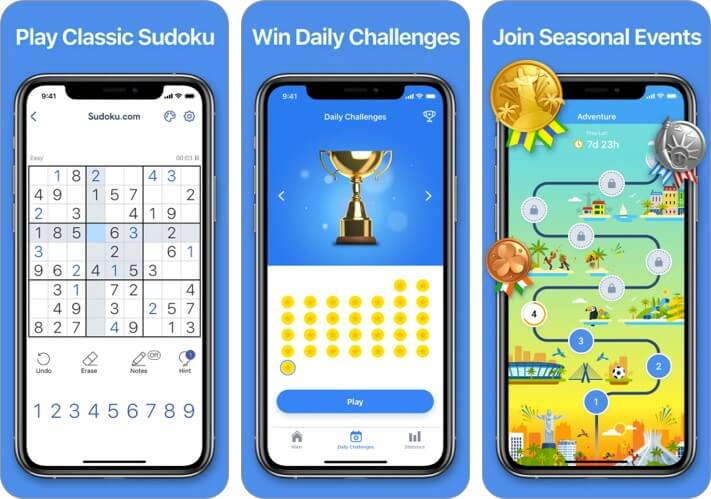 Screenshot des iPhone- und iPad-Spiels von Sudoku.com