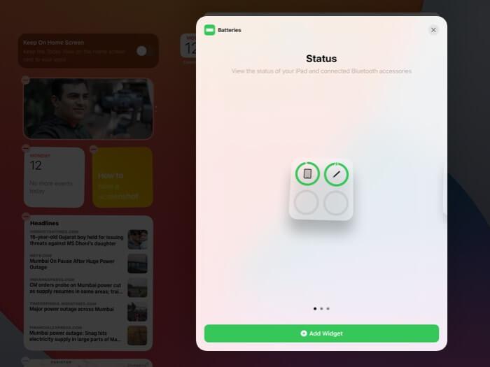 Tippen Sie auf dem iPad auf Widget hinzufügen
