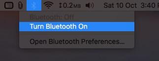 Включите Bluetooth в верхней строке меню на Mac