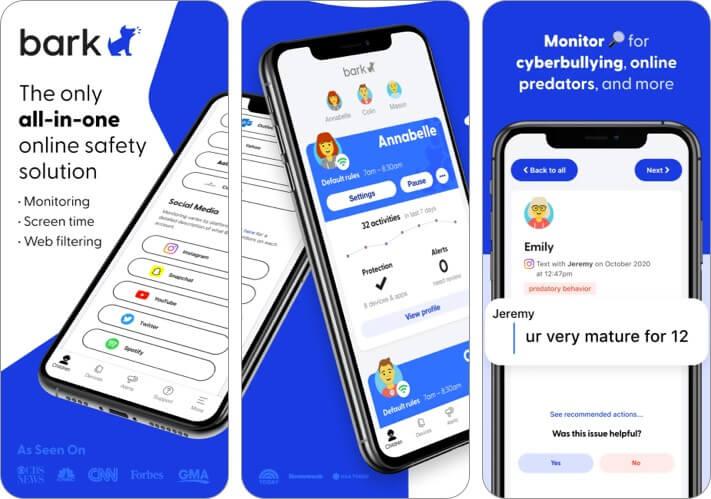 Снимок экрана приложения Bark для iPhone и iPad для родительского контроля