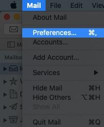 Klicken Sie auf Mail und wählen Sie Einstellungen auf dem Mac