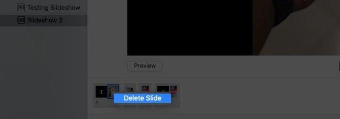 Удаление слайда из слайд-шоу с помощью трекпада Mac