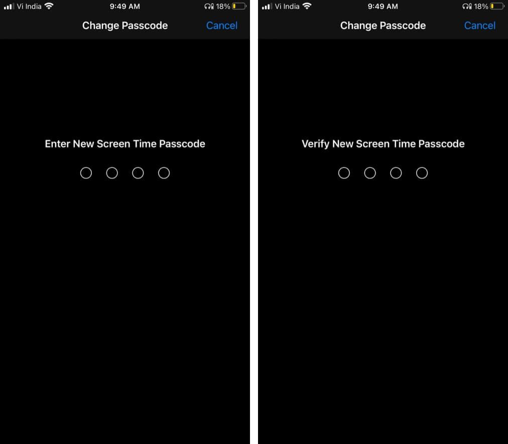 Введите новый пароль, чтобы сбросить забытый пароль экранного времени на iPhone