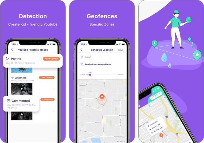 Снимок экрана приложения FamiSafe для iPhone и iPad для родительского контроля