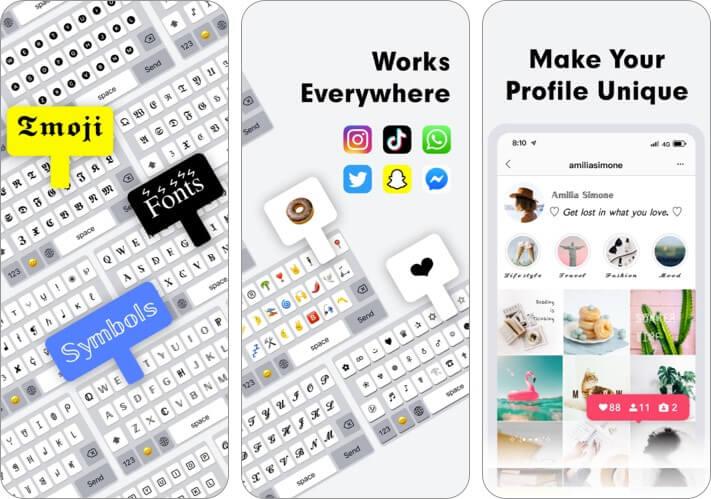 Шрифты и символьная клавиатура iPhone App Скриншот
