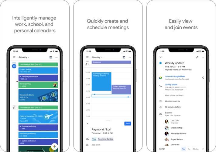 Скриншот приложения Google Calendar для iPhone и iPad