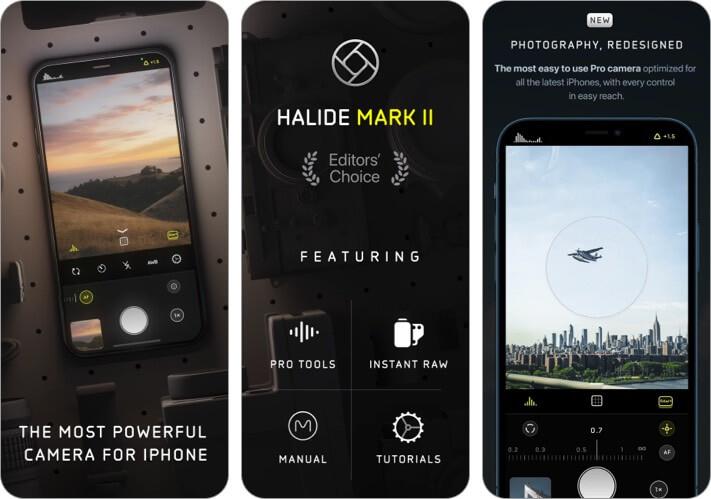 Снимок экрана приложения Halide Mark II для iPhone и iPad