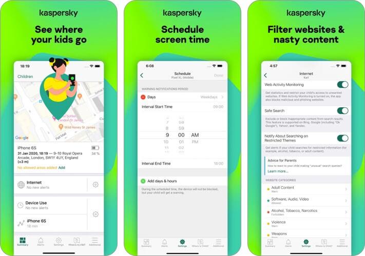 Скриншот приложения Kaspersky Safe Kids для iPhone и iPad Родительский контроль
