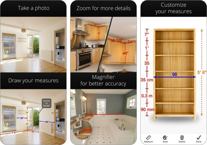 Фото мер iPhone и iPad Скриншот приложения для дизайна интерьера