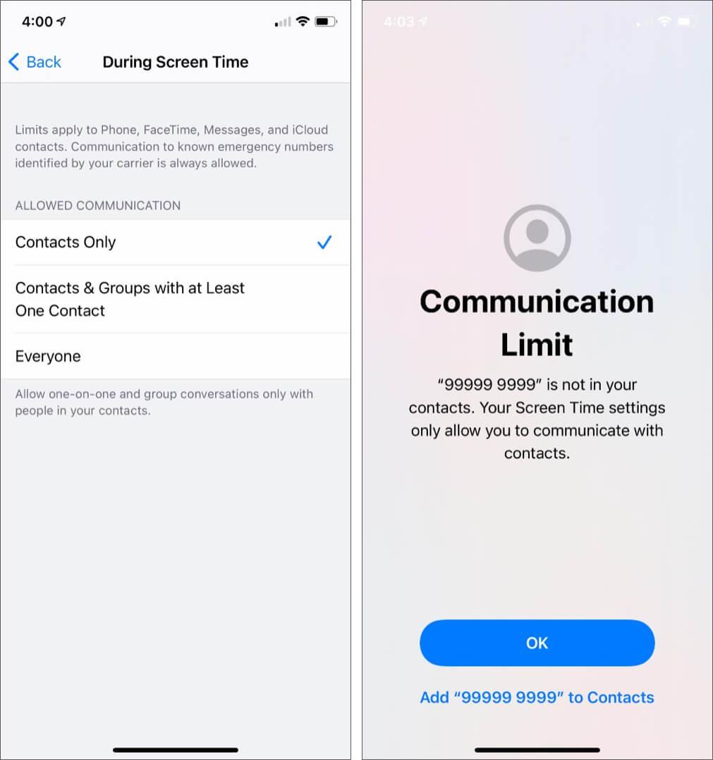 Выберите «Только контакты», чтобы установить лимиты связи.