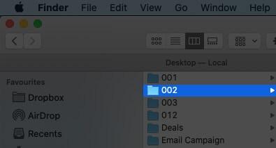 Выберите папку в Finder на Mac