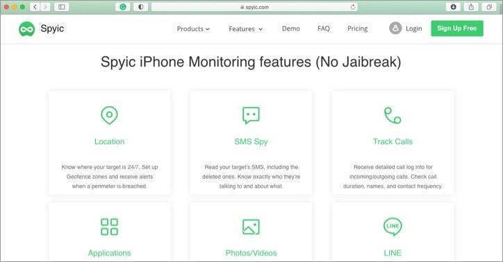 Скриншот приложения родительского контроля Spyic для iPhone и iPad