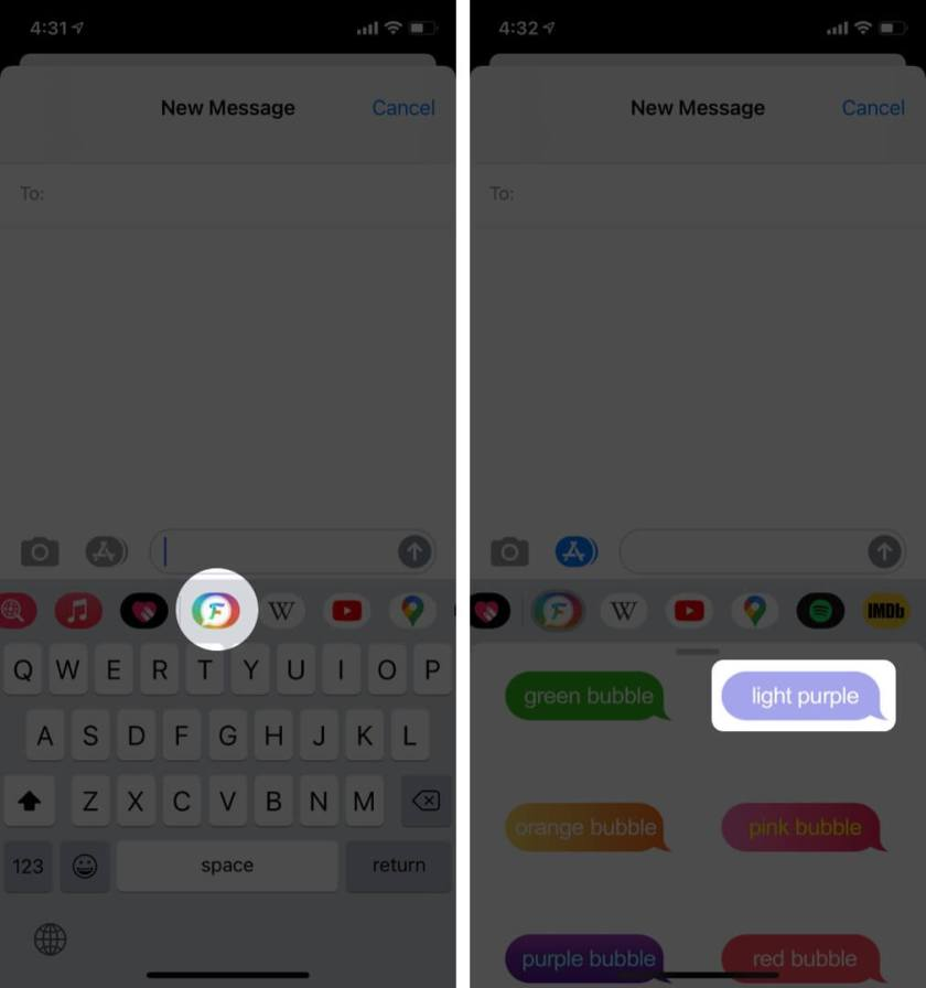 Проведите пальцем по приложениям Нажмите на приложение FancyBubble и выберите на iPhone значок сообщения