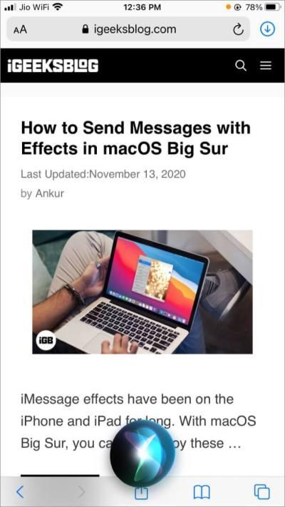 Сделайте снимок экрана на iPhone с помощью Siri