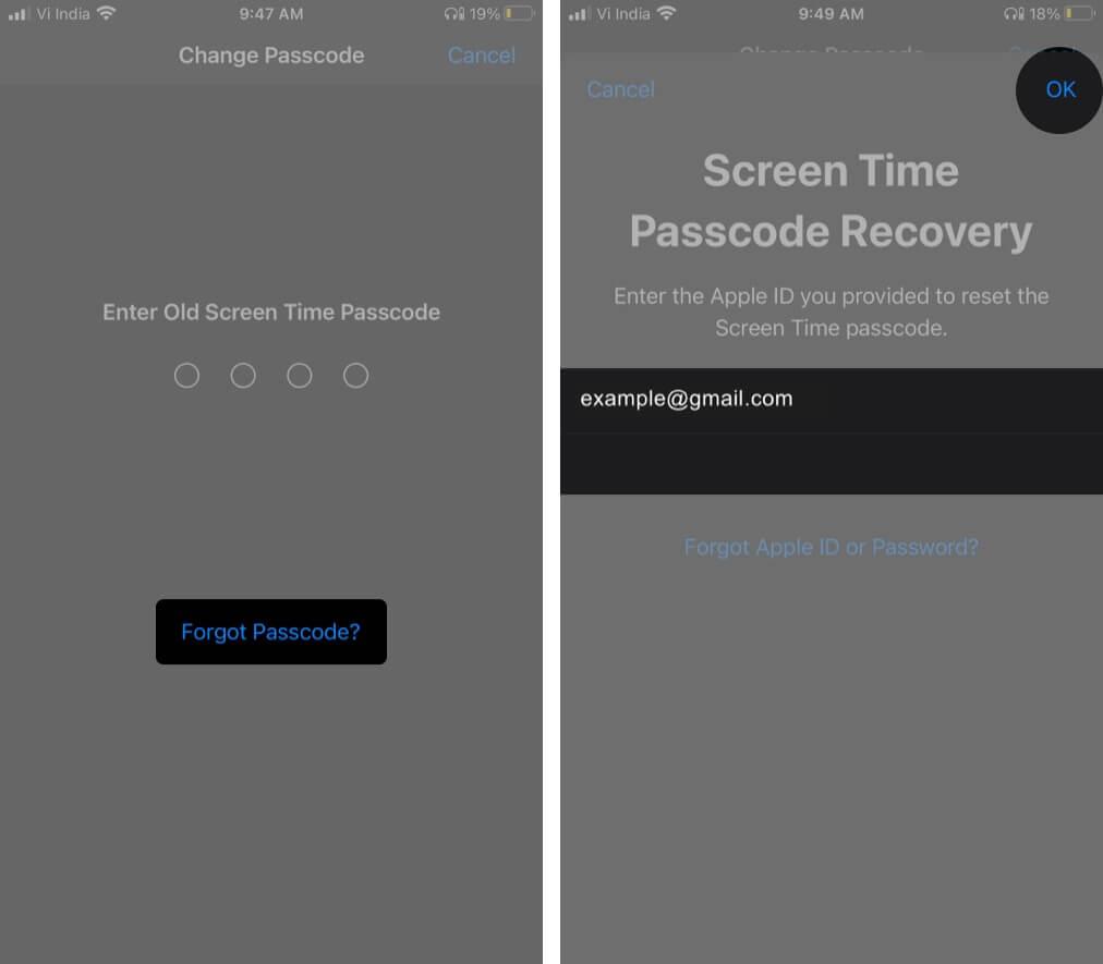 Нажмите на «Забыли пароль», введите Apple ID и пароль и нажмите «ОК».