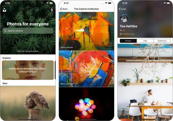 Unsplash Скриншот приложения обоев для iPhone и iPad