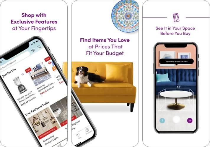 Wayfair Shop All Things Home iPhone и iPad Скриншот приложения для дизайна интерьера