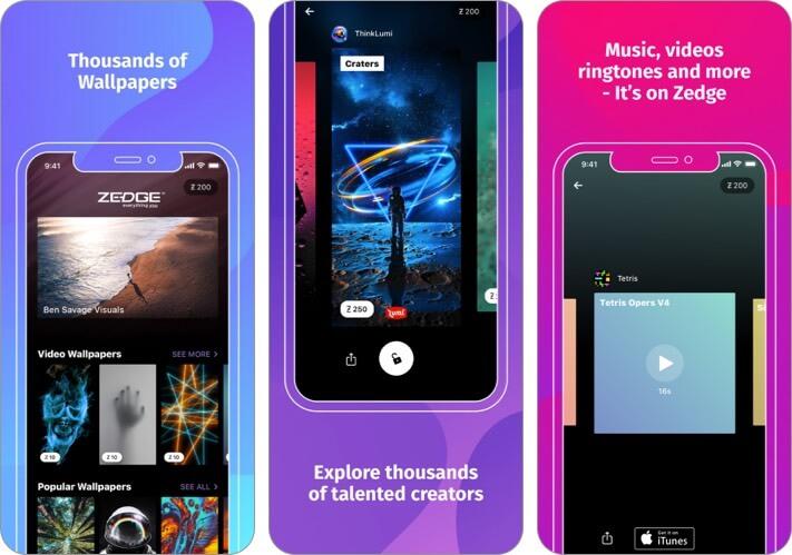 ZEDGE Wallpapers Приложение для iPhone и iPad Скриншот