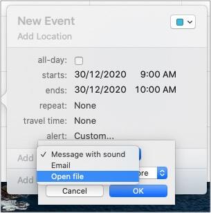 В пользовательских настройках выберите Открыть файл в приложении Календарь.