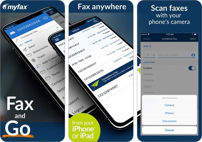 Приложение MyFax для iPhone и iPad Скриншот