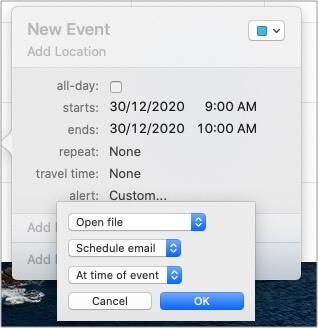 Выберите Во время мероприятия в приложении Календарь, чтобы запланировать электронную почту.