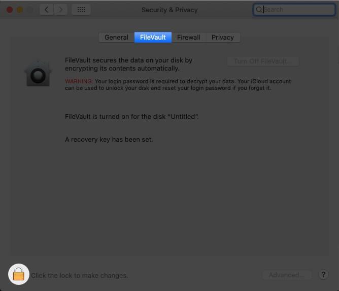 Отключите шифрование хранилища файлов на Mac