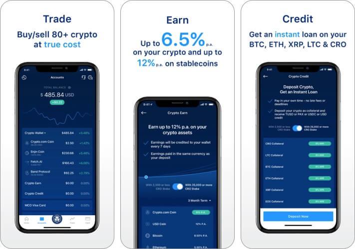 Crypto.com Скриншот приложения для iPhone и iPad с криптовалютой
