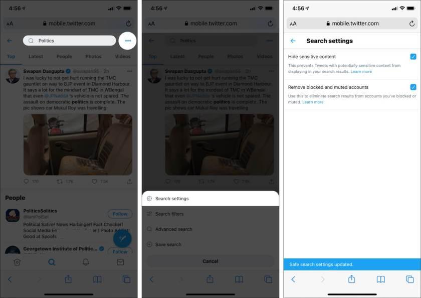 Включение и использование безопасного поиска в Twitter на iPhone и iPad