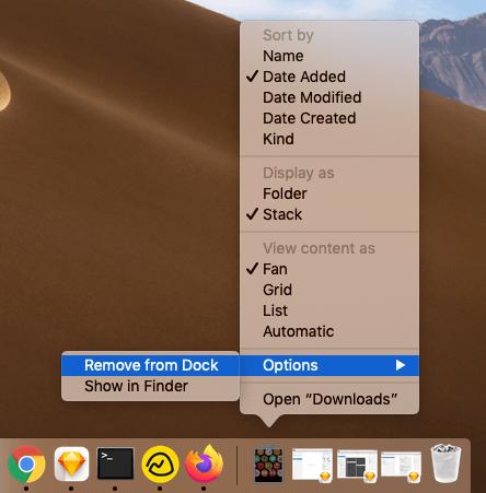 Как удалить папку загрузок из Mac Dock