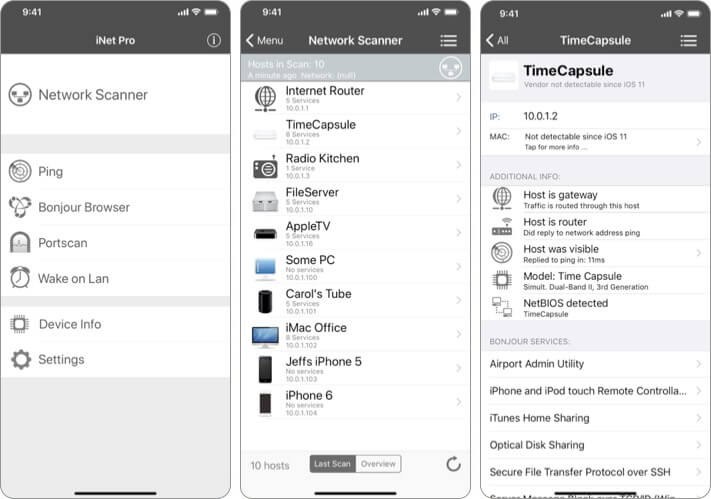 iNet Pro Network Scanner Security Приложение для iPhone и iPad Скриншот