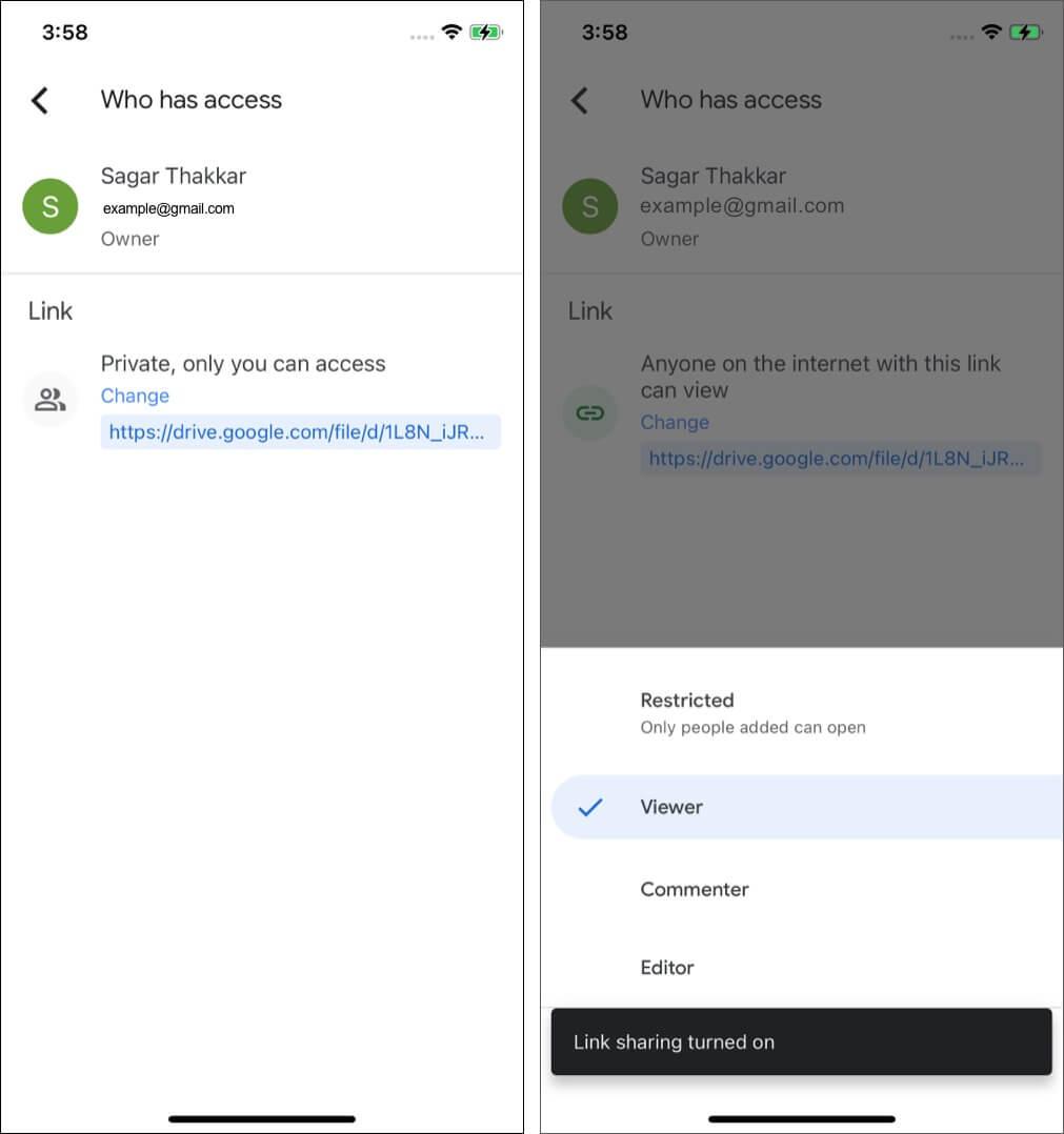 Переключить параметры общего доступа к файлам на Google Диске