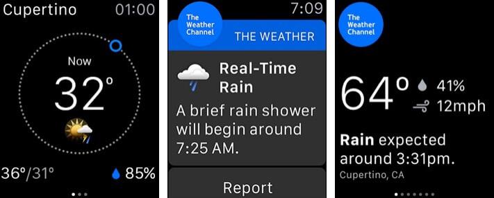 Погода - Скриншот приложения для Apple Watch The Weather Channel