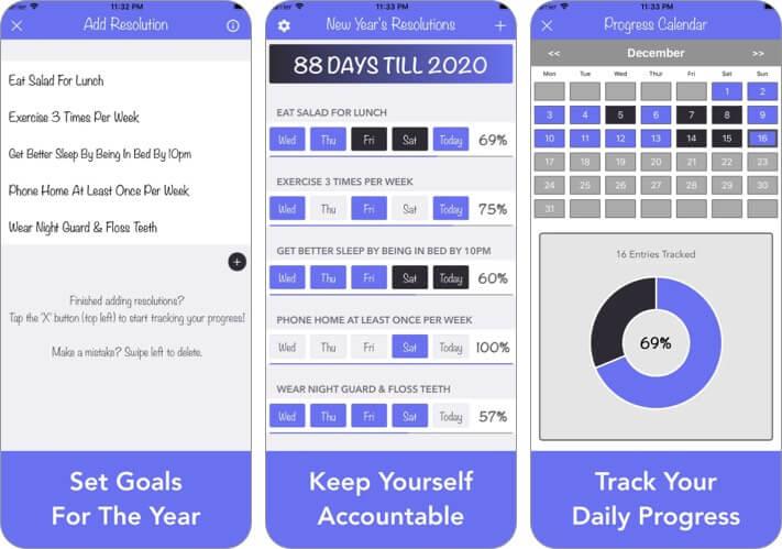 Новогодний трекер разрешения экрана приложения для iPhone и iPad