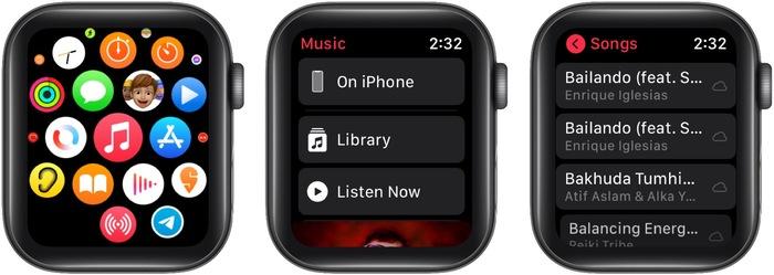 Откройте музыкальное приложение Apple Watch, нажмите «Библиотека» и воспроизведите песню.
