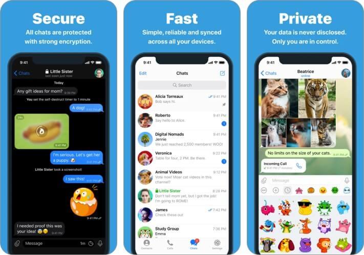 Приложение Telegram для iPhone Альтернативный снимок экрана WhatsApp