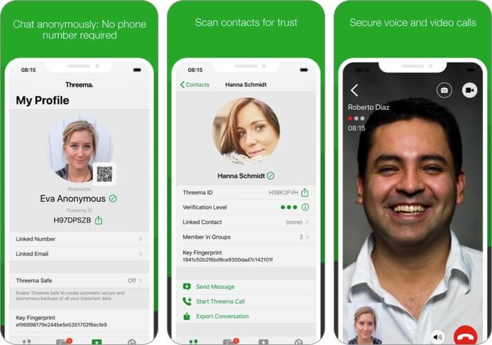 Снимок экрана приложения Threema Secure Messenger для iPhone