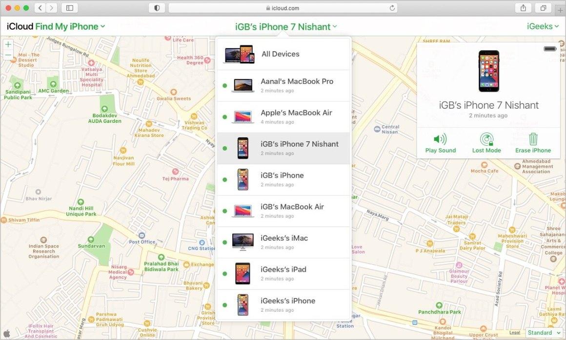 Посетите iCloud.com. Выберите отключенное устройство и нажмите «Стереть iPhone».