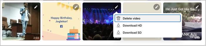 Klicken Sie auf das Bearbeitungssymbol Ihres bevorzugten Facebook-Videos und wählen Sie den Download-Typ aus
