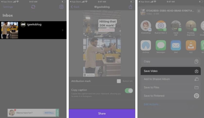 Выберите значок «Поделиться» и нажмите «Сохранить видео» в приложении Repost на iPhone.