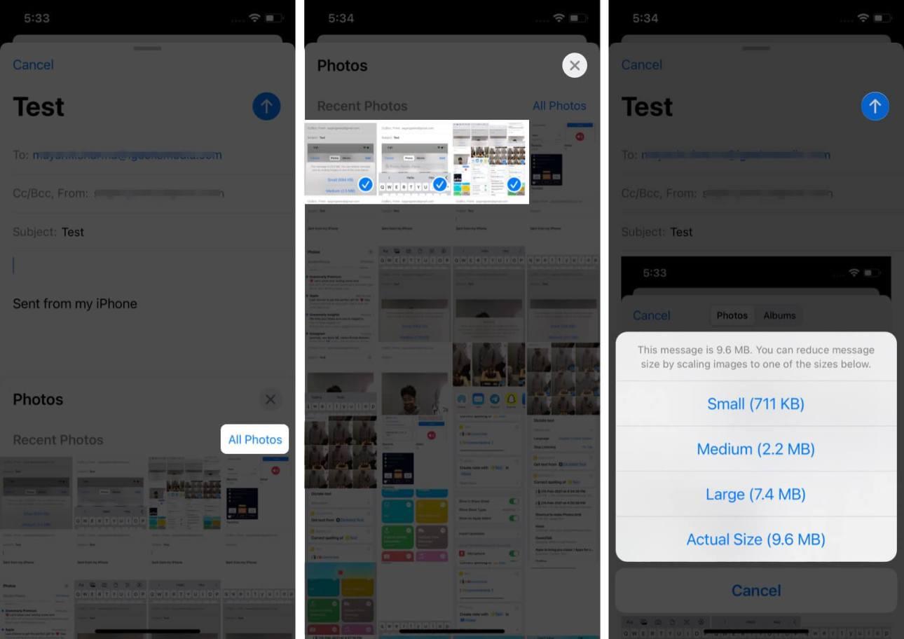 Выберите нужные файлы и нажмите кнопку отправки в почтовом приложении на iPhone.