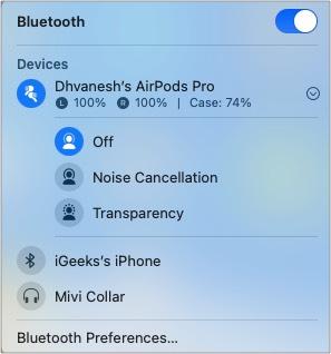 Нажмите кнопку громкости в строке меню, чтобы включить или отключить шумоподавление или прозрачность