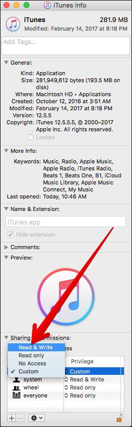 Разрешить всем доступ на чтение и запись для iTunes на Mac