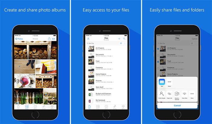 Снимок экрана приложения облачного хранилища Microsoft OneDrive для iPhone и iPad