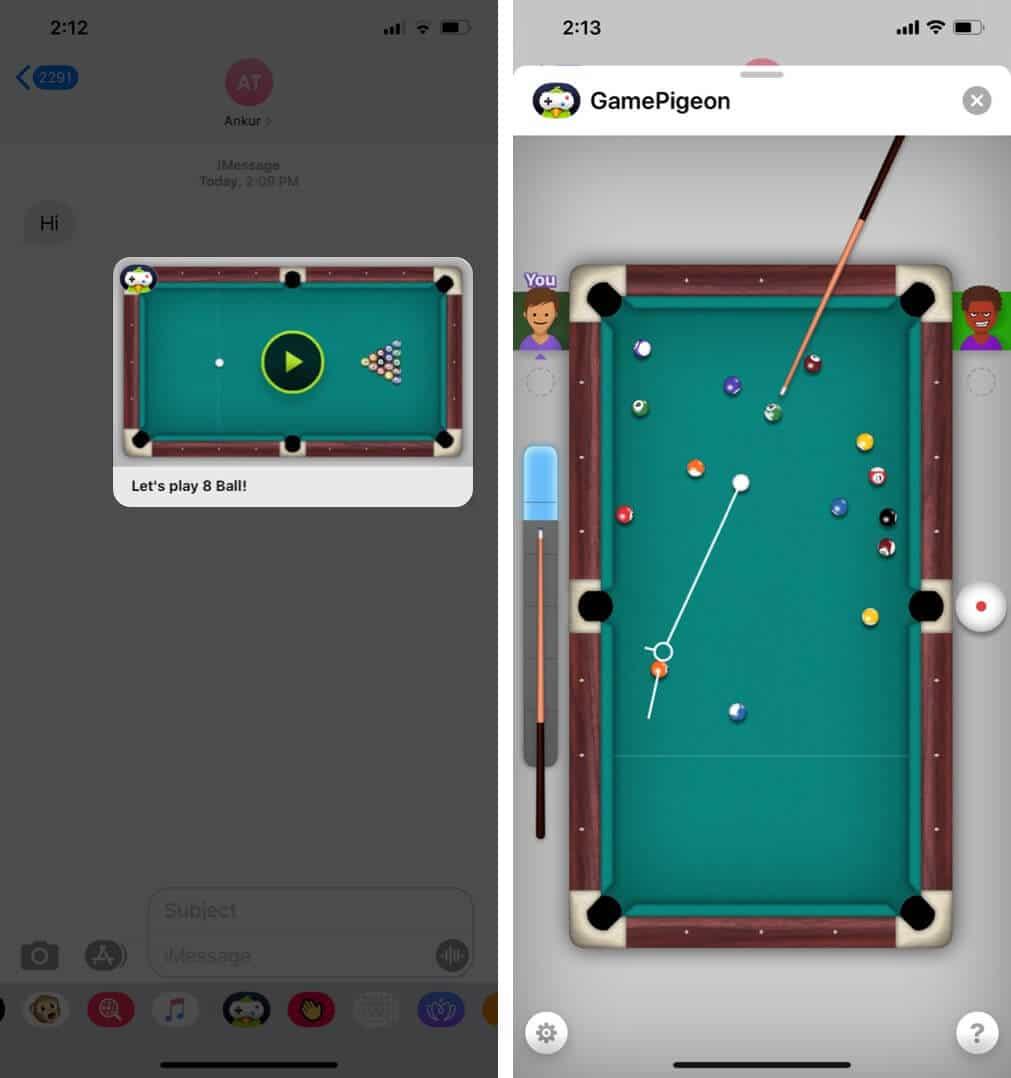 Играть в игру в приложении iMessage на iPhone