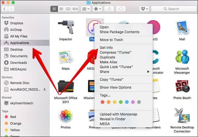 Щелкните правой кнопкой мыши iTunes и нажмите «Получить информацию».