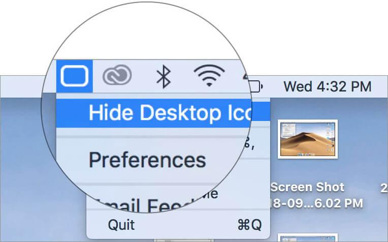 Выберите Скрыть значки рабочего стола в приложении Mac HiddenMe.