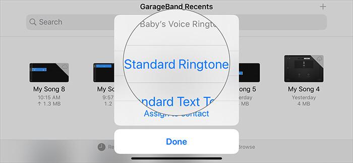 Выберите стандартный рингтон в GarageBand Recents, чтобы превратить голосовую заметку в рингтон.