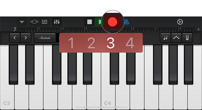 Нажмите на красную точку, чтобы записать свой голос в приложении GarageBand на iPhone.